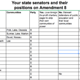 Which state senators support Amendment 8, the Foreign For-Profit Charter Enrichment and Local Democracy Destruction Act?