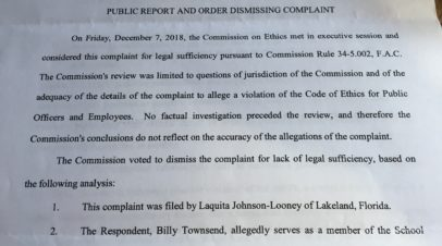 The Looney complaint dismissal: an ethical vindication of public oversight